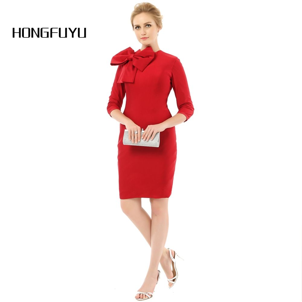 Real photo red elegant sheath mother of the bride dresses scoop neck