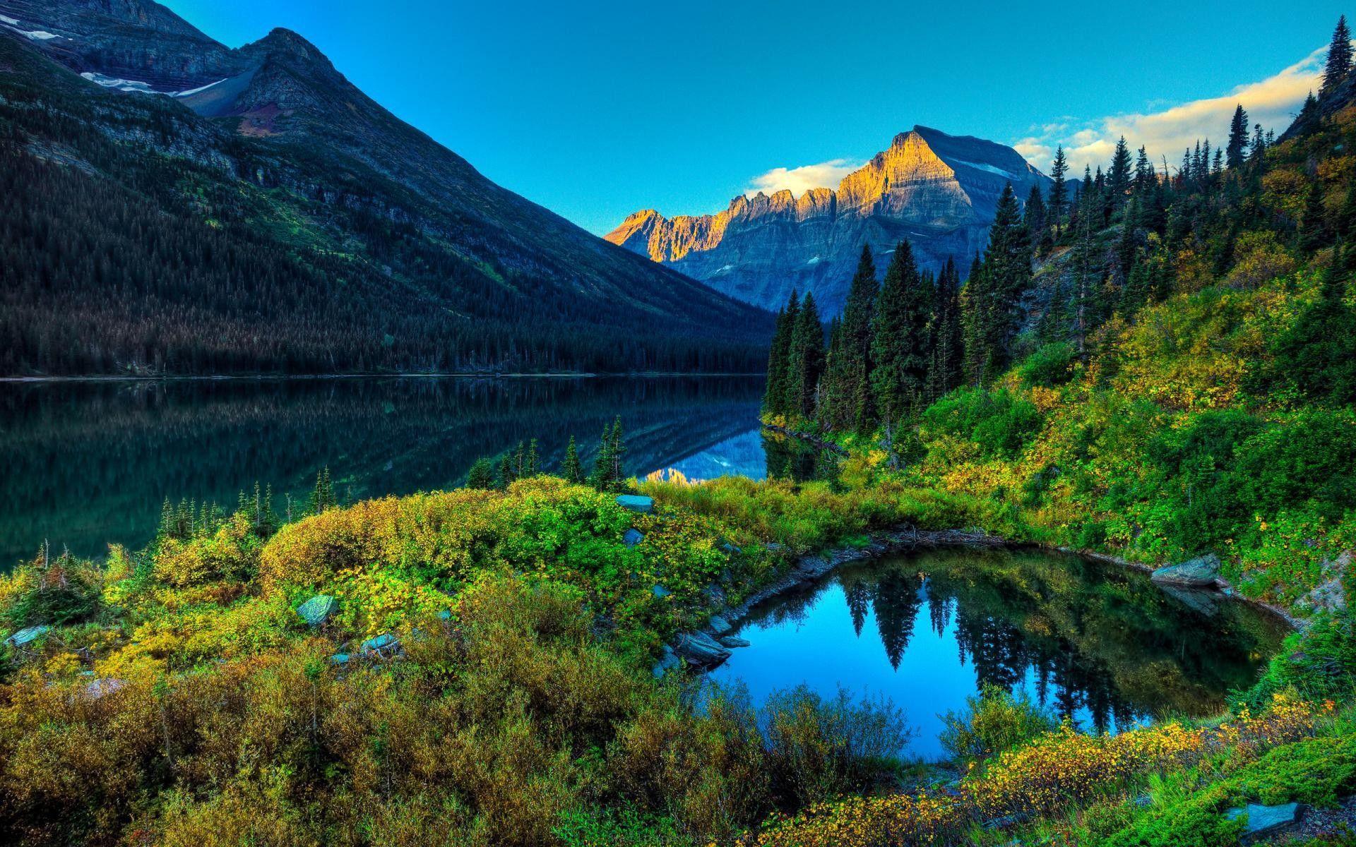 Beautiful Mountain River Forest Natural 1920x1200 Px Hd Scenery Wallpaper Landscape Wallpaper Scenery