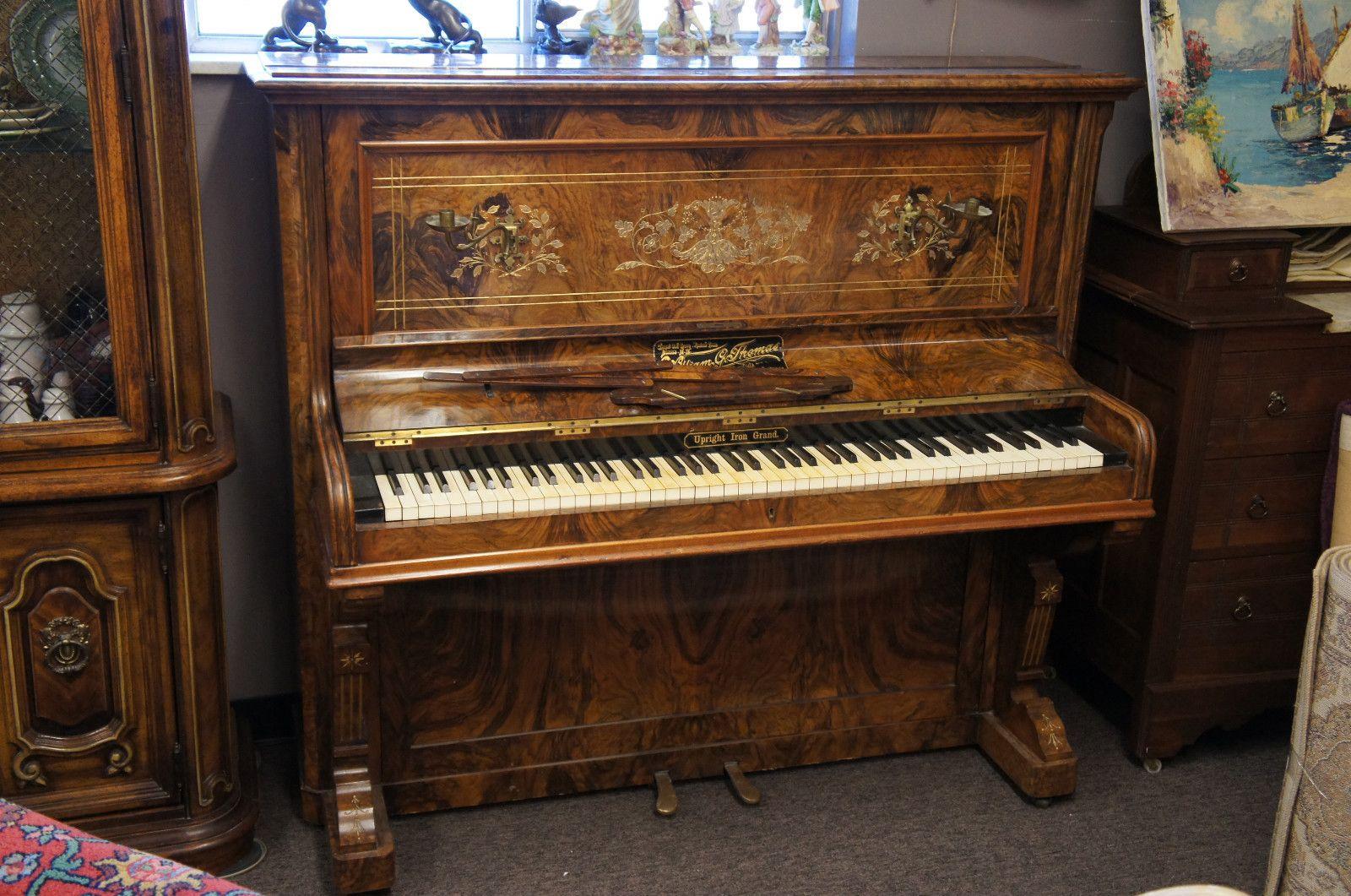 Antique William Thomas Upright Iron Grand Piano 1800s Candelabras