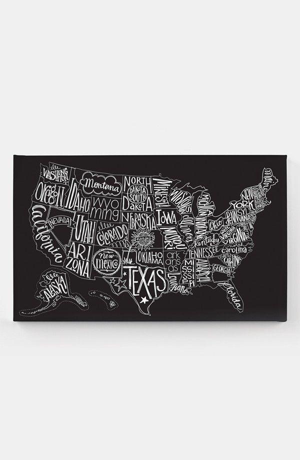 Delightful Basic Grey U0027Black Tie   US Mapu0027 Canvas Wall Art | Nordstrom