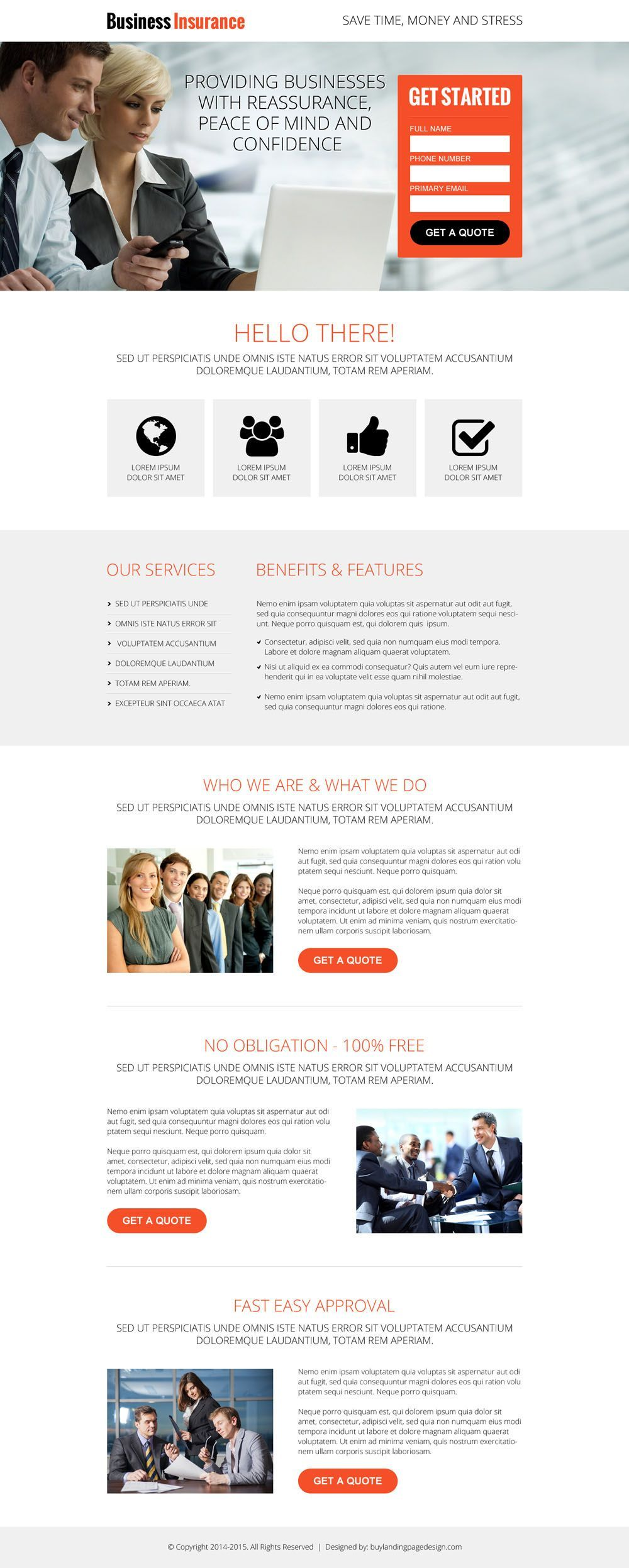 Download small business insurance landing page designs caps