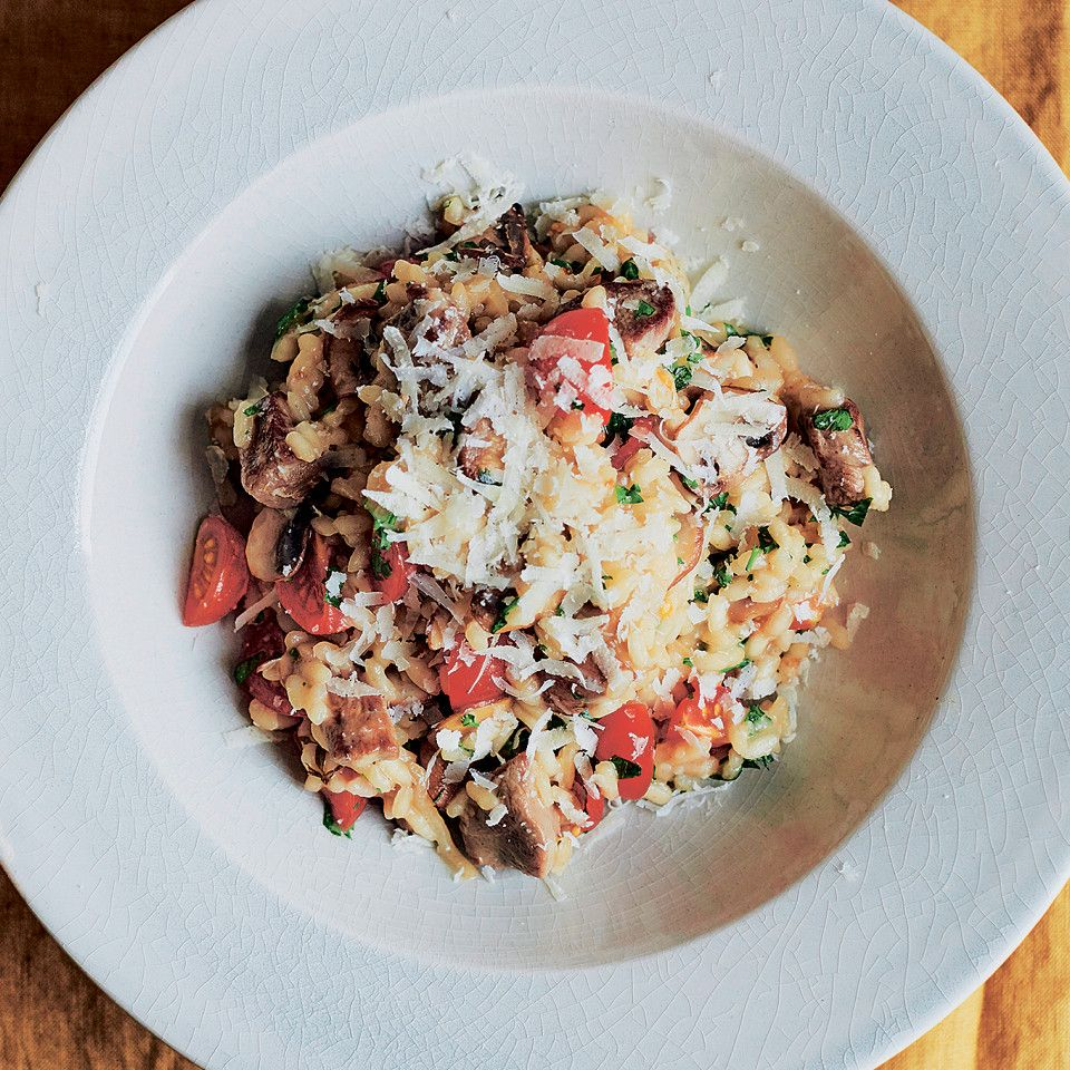 Duck Risotto with Mushrooms and Cherry Tomatoes