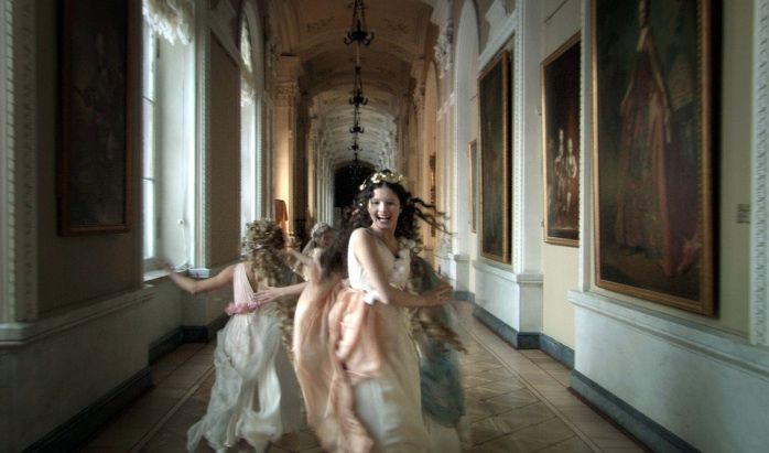 From Russian Ark, a Russian historical film directed by Alexander Sokurov, and filmed entirely in the Winter Palace of the Russian State Hermitage Museum using a single 96-minute Steadicam sequence shot