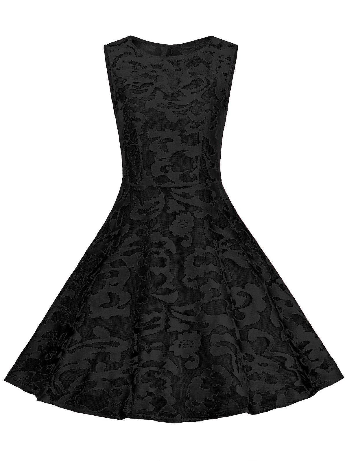 Sheer vintage lace plus size a line dress in full black sammydress
