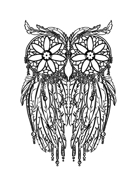 black and white dream catchers coloring pages | Owl Dreamcatcher Tattoo by Filasis-Nome | Ink | Tattoos ...