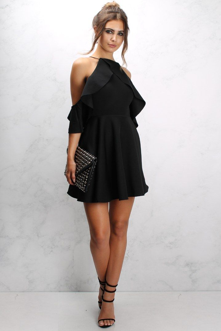 e21ea00f08 Black Cold Shoulder Frill Skater Dress