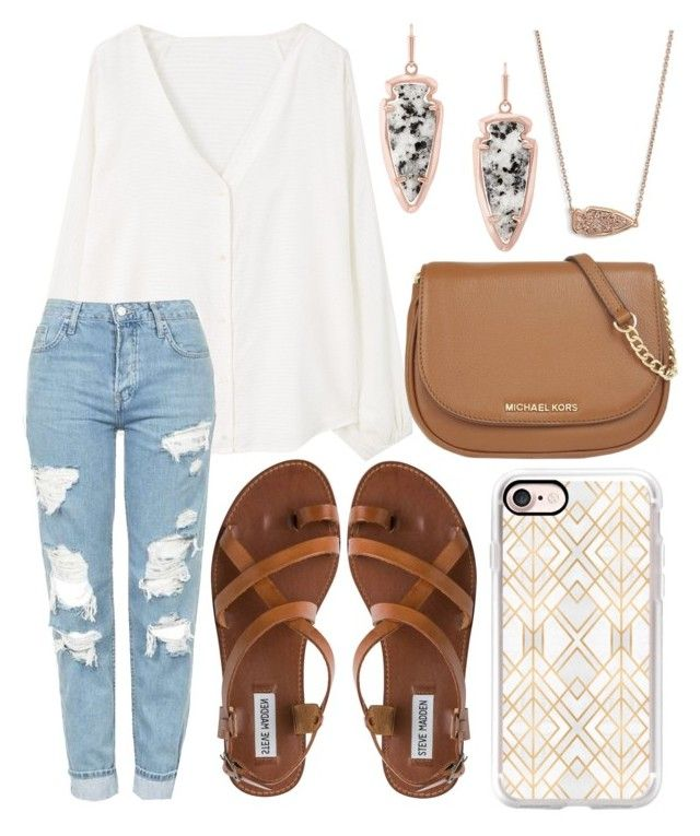 A fashion look from September 2016 featuring MANGO blouses, Topshop jeans  and Steve Madden sandals. Browse and shop related looks.