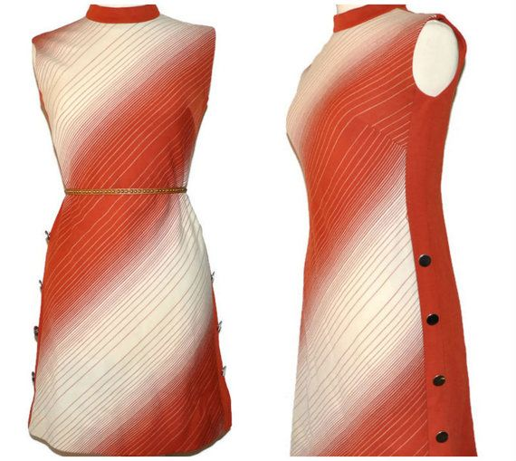 1970s Dress Orange and White Stripes  Zip up by CrystalBallVintage