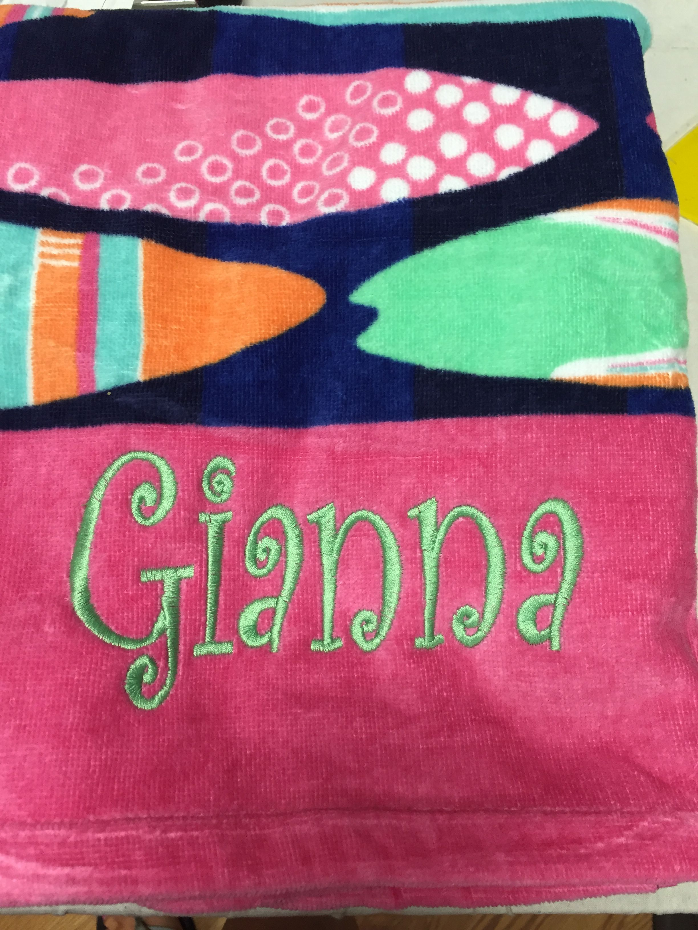 Embroidered names on towel | custom embroidery | Pinterest