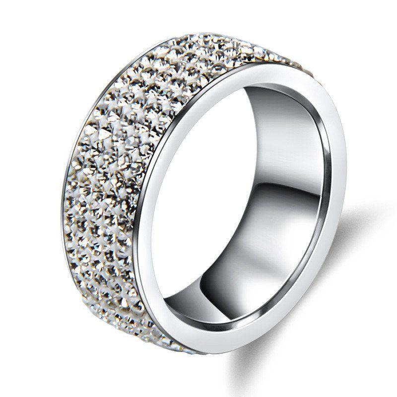 5 Rows Crystal Stainless Steel Ring Women for Elegant Full Finger
