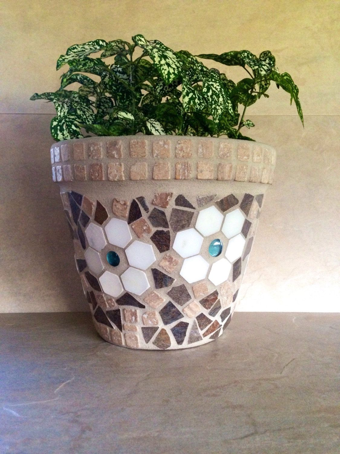 Mosaic Flower Pot Large Rustic Planter Outdoor Patio
