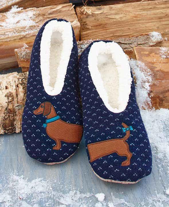 Sherpa Women S Blue Wiener Dog Slippers Dachshund Slippers S M