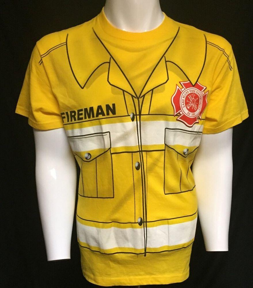 Fireman Yellow Costume Medium Short Sleeve Tee T-Shirt #Delta #GraphicTee