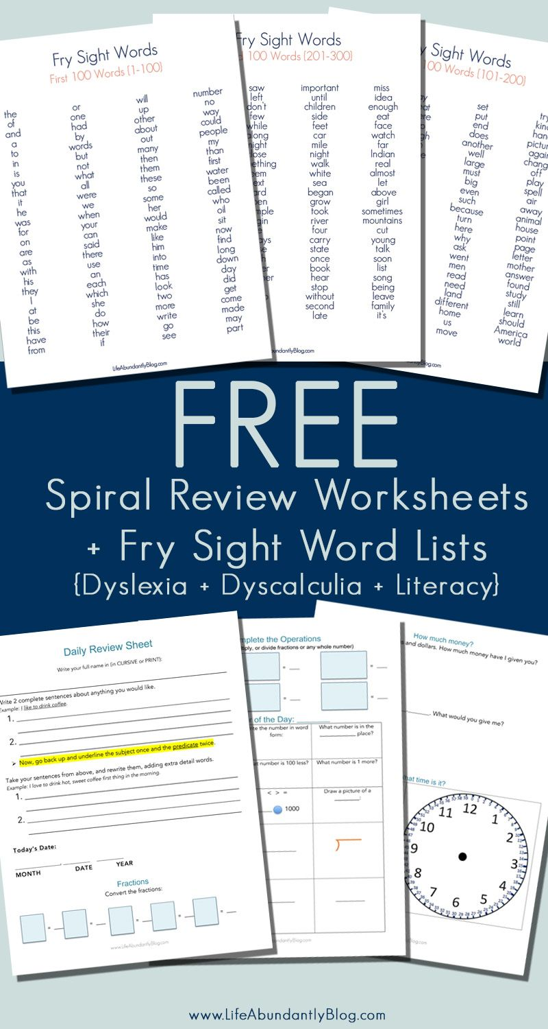 Free Spiral Review Worksheet 300 Sight Word List Dyslexia Reading Math Life Abundantly Sight Words List Sight Words Dyslexia [ 1500 x 800 Pixel ]