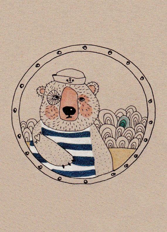CAPTAIN BEAR  greeting card with illustration door vickylommatzsch
