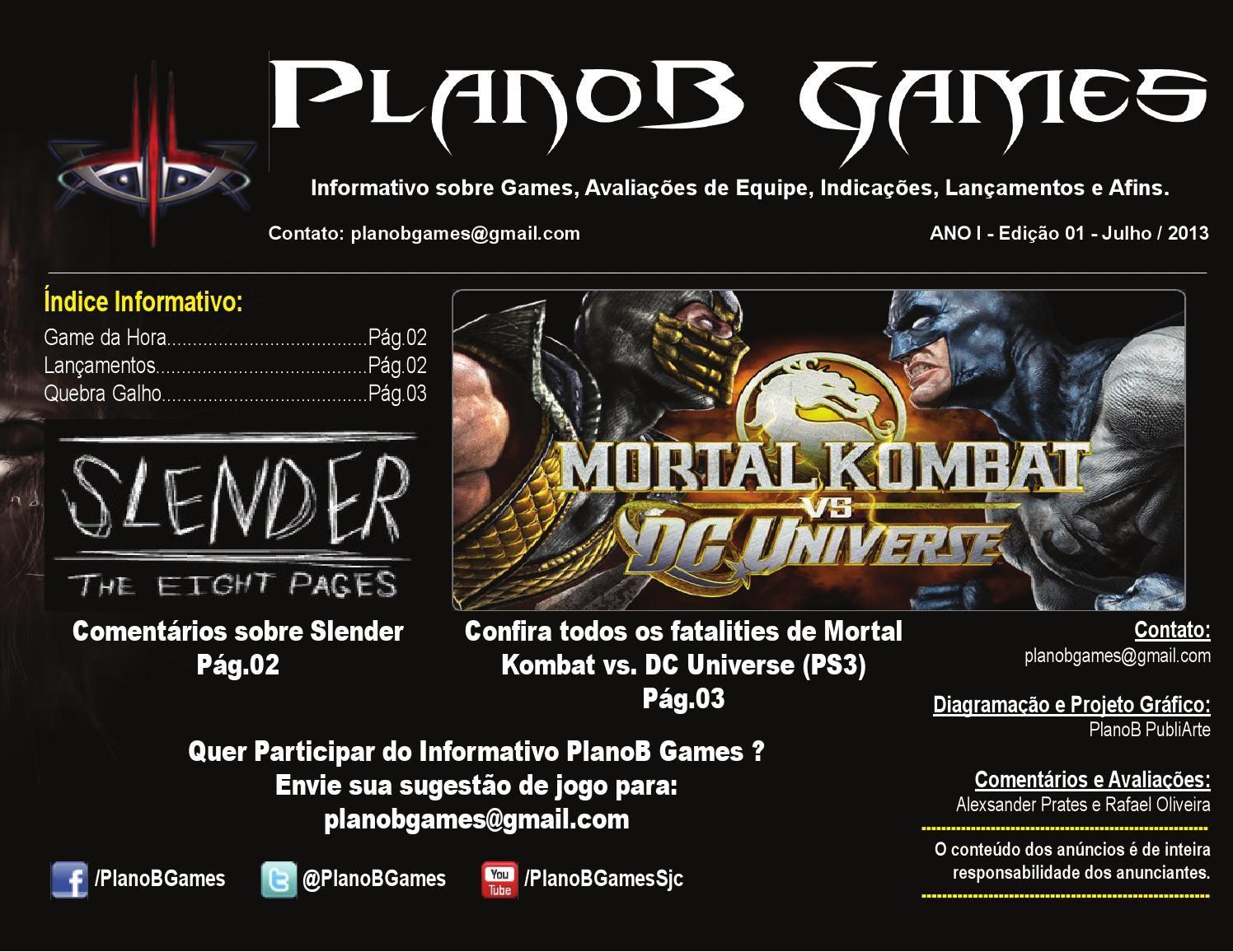 PlanoB Games Edição 01  Trabalho de Diagramação e Conteúdo
