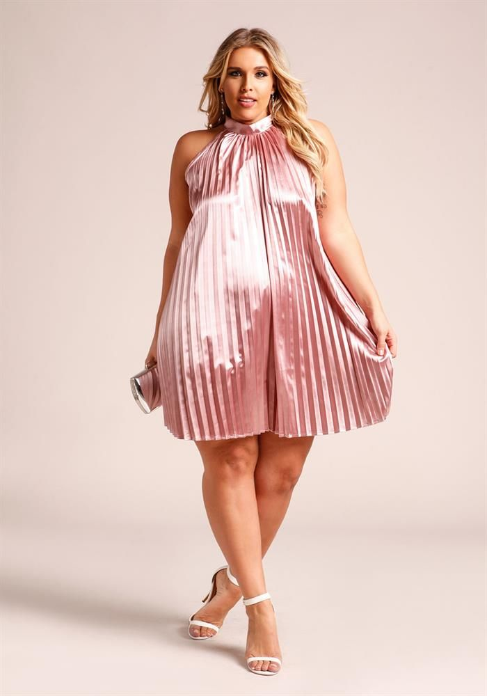 Plus Size Clothing | Plus Size Silky Pleated Shift Dress | Debshops ...