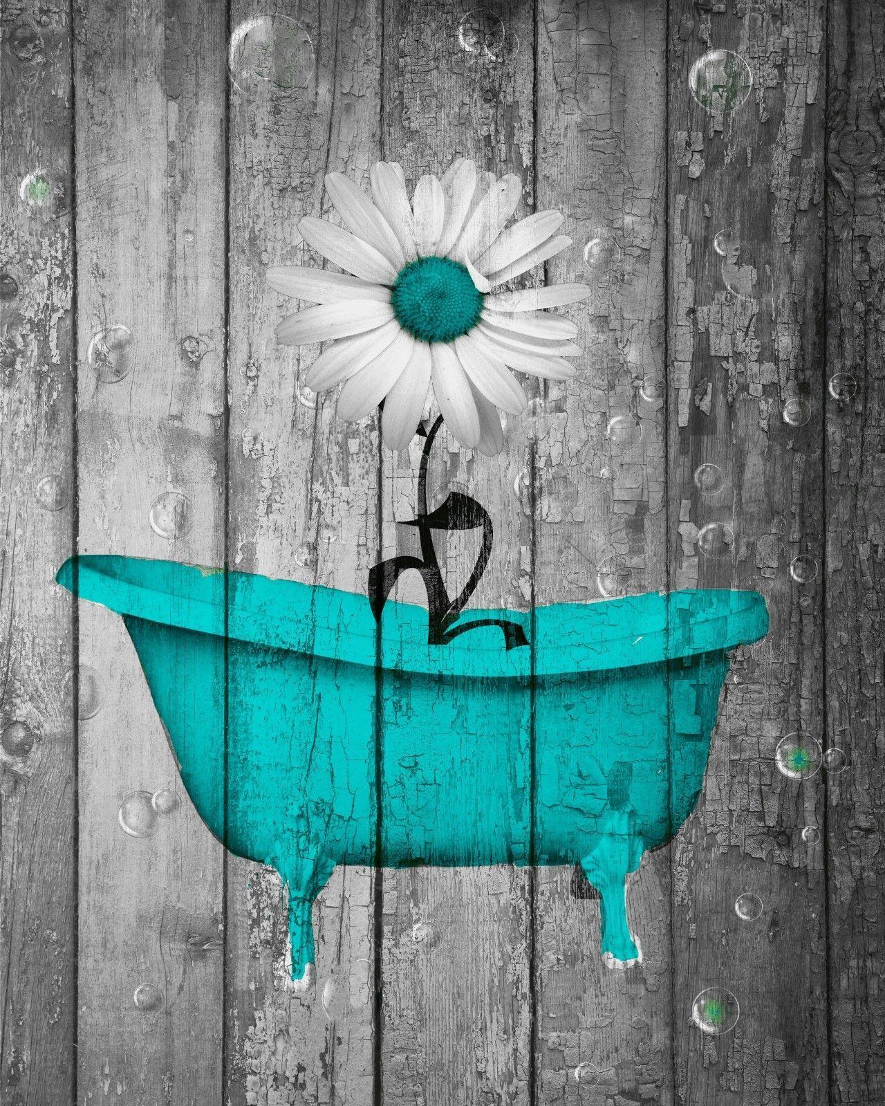 bathroom rustic teal daisy flower home decor wall art on bathroom wall decor id=37881