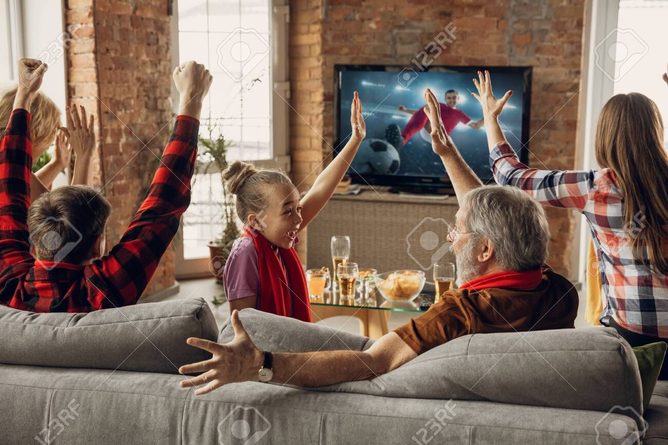 Victory Excited Happy Family Watching Soccer Football Match Championship On The Couch At Home Fans Emotional Che In 2020 Football Match Have Fun Animated Cartoons