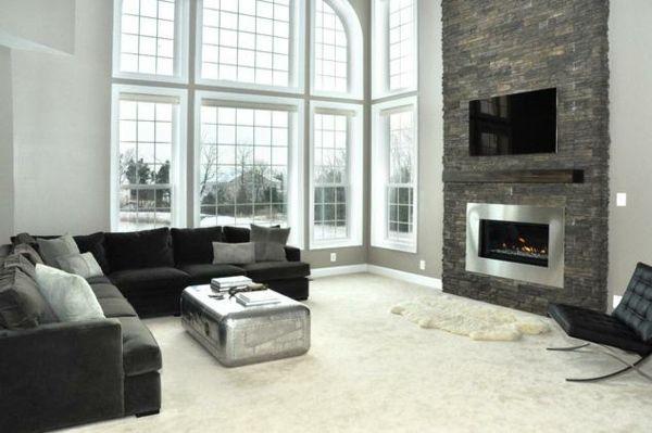 design wohnzimmer mit steinwand grau pinterest the worlds catalog of ideas - Steinwand Grau