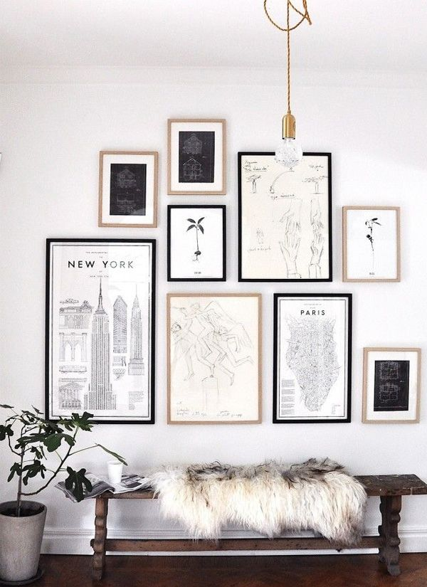 Color Scheme Black White Neutrals Gallery Wall Inspiration Wall Entry Decor