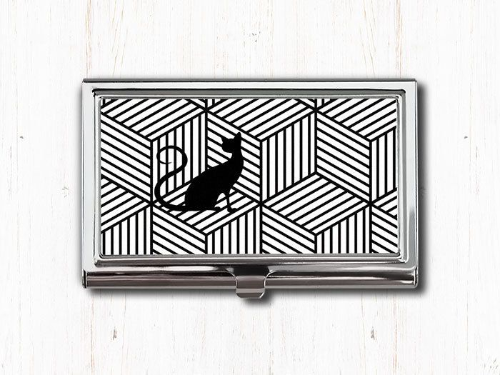 Black and white cat business card case business card holder card black and white cat business card case business card holder card case card holder cat lover gift cat art black cat cat gift colourmoves