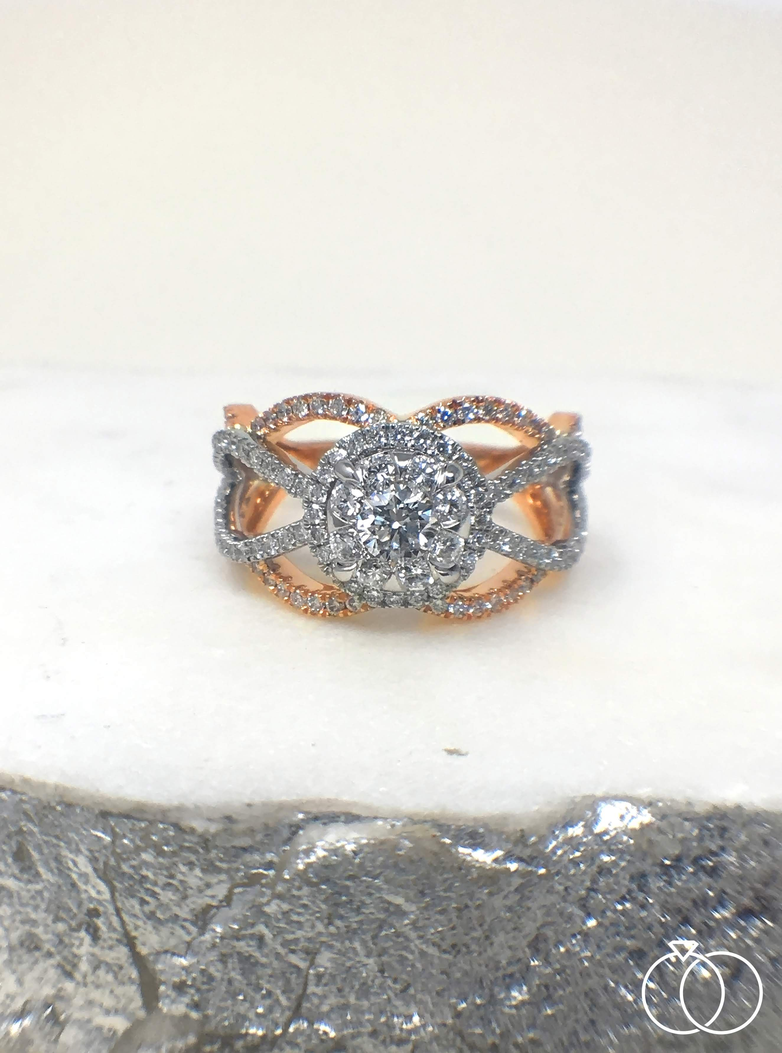 Utwo 14k Rose And 14k White Gold Diamond Engagement Ring 3 4 Ct Tw 14k White Gold Diamond Engagement Ring Diamond Engagement Rings Diamond Engagement