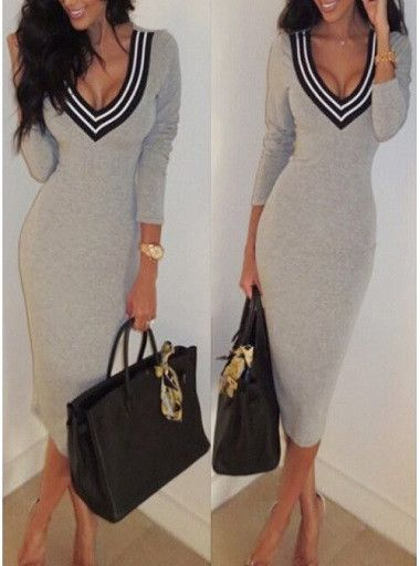 Plunging Neck Long Sleeves Striped Splicing Dress – Everyone's corner