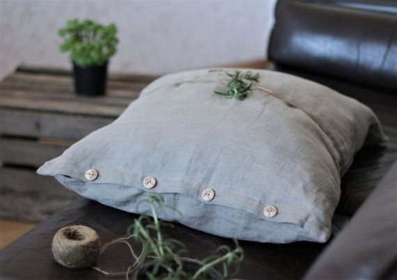Pillow covers with buttons gray linen soft Stone Washed by RPlinen