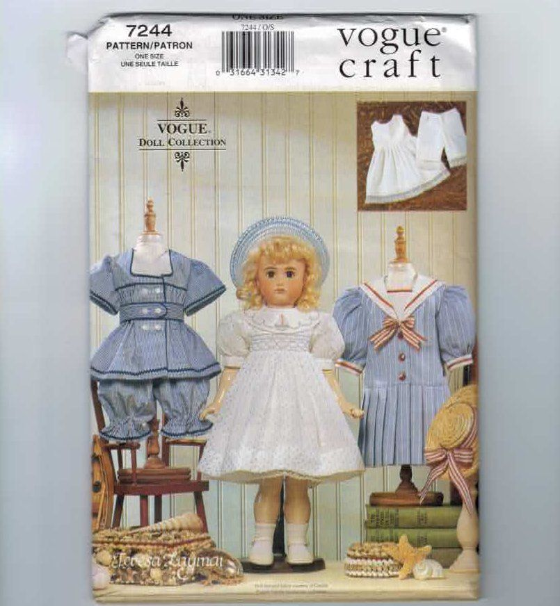 Doll Sewing Pattern Vogue 7244 Heirloom 18 Inch Doll American Girl ...