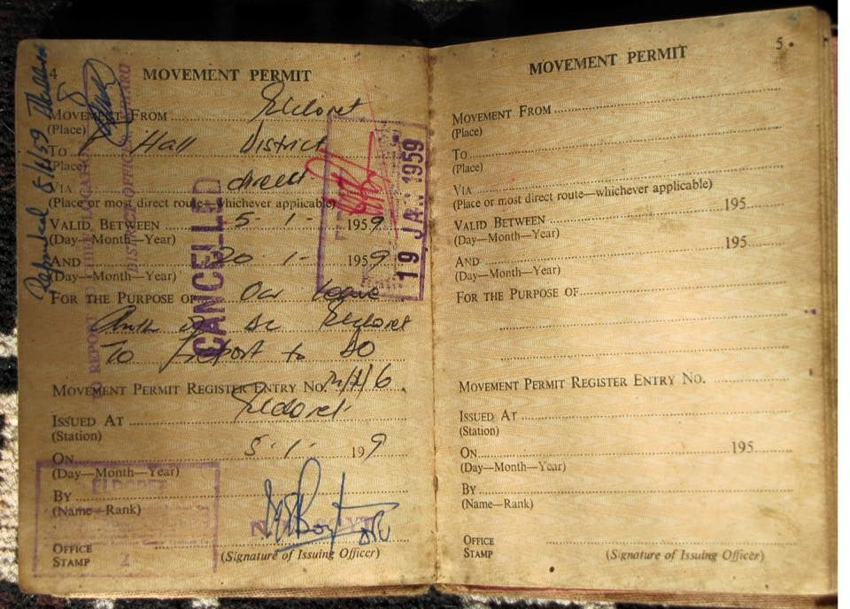 Dated 1959 This Native Passbook Or Kipande As It Was Famously