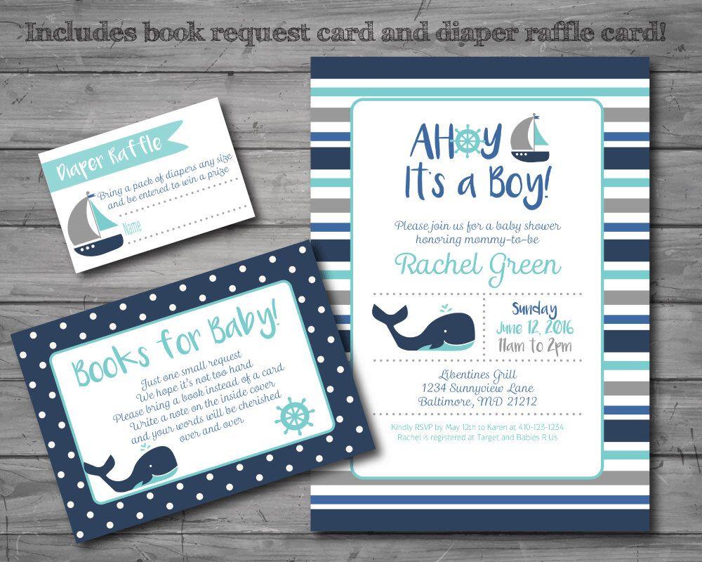 Nautical Baby Shower Invitation, nautical theme, whale, baby boy ...