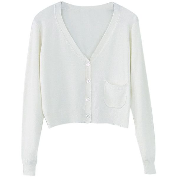 White Button Up Pocket Detail Long Sleeve Crop Cardigan ($32 ...