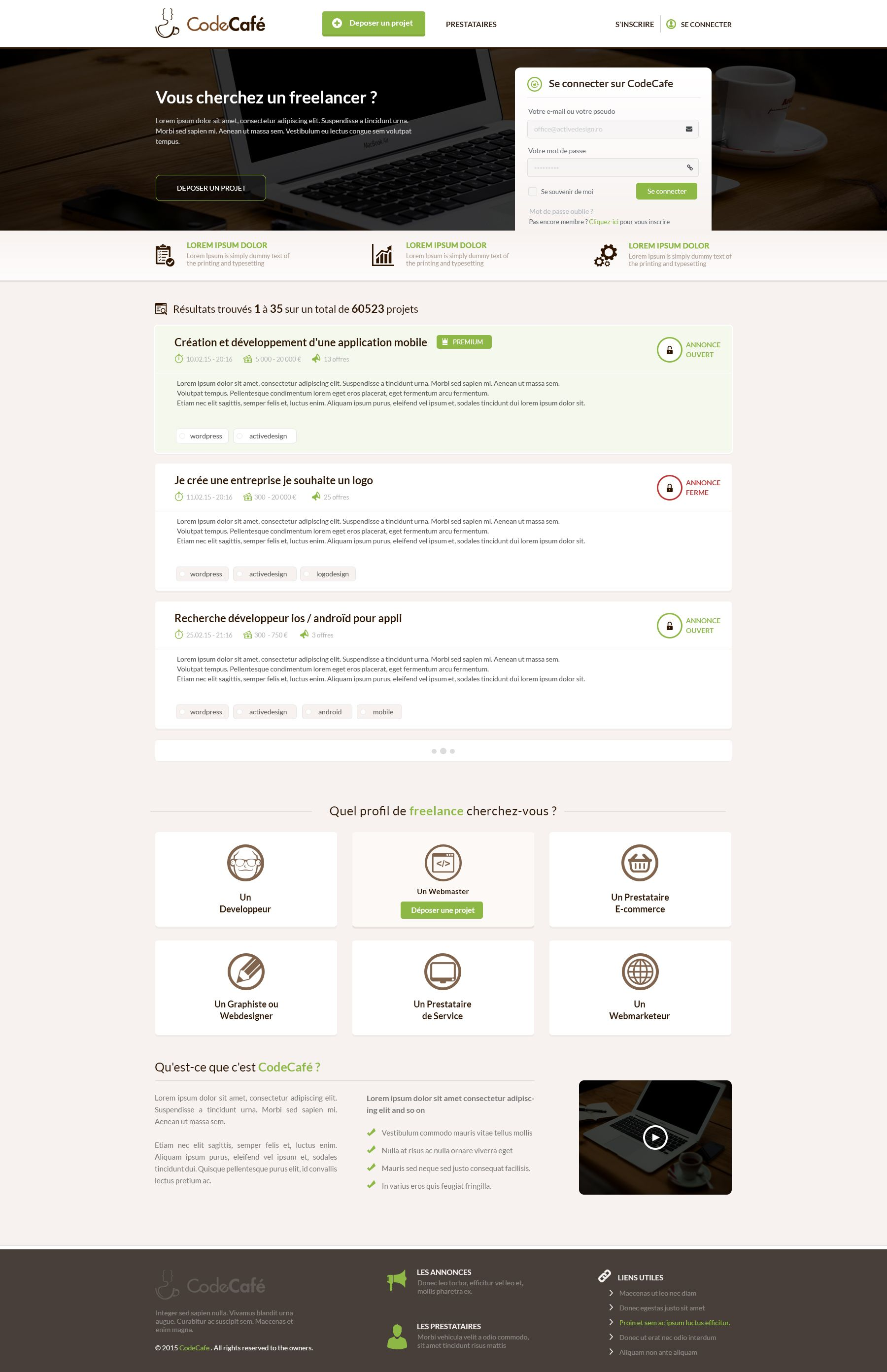 Codecafe website design
