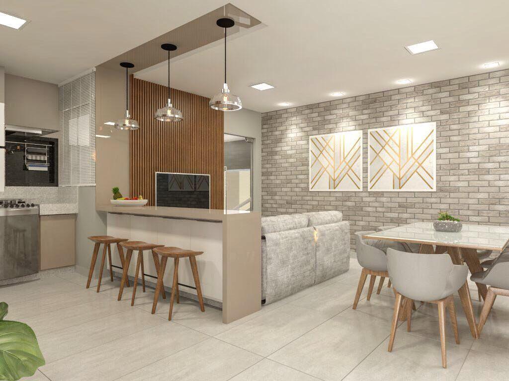 Projeto De Interiores Cozinha Integrada Com Jantar E Mini Sala De