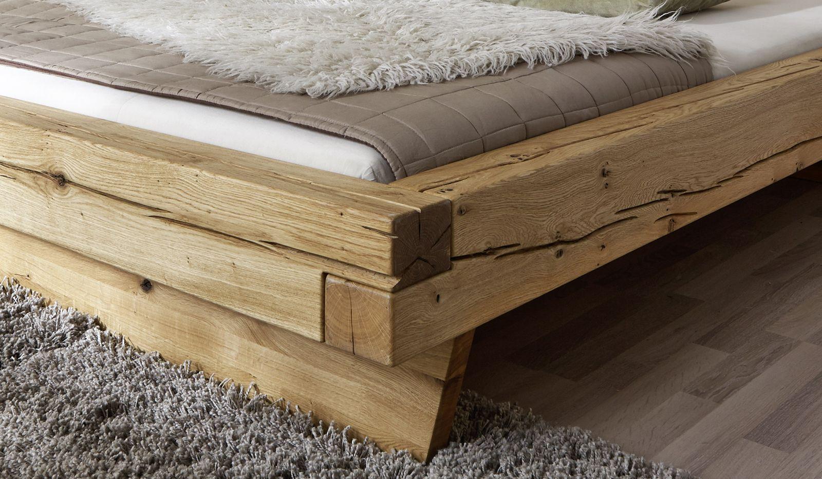 SAM® Balkenbett Kernbuche Benno Massiv Holzbett 200 x 200