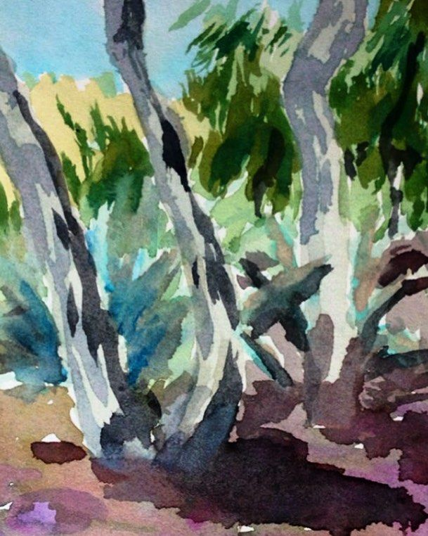 Pleinair Painting From Lareunion Etangsale Watercolor 974
