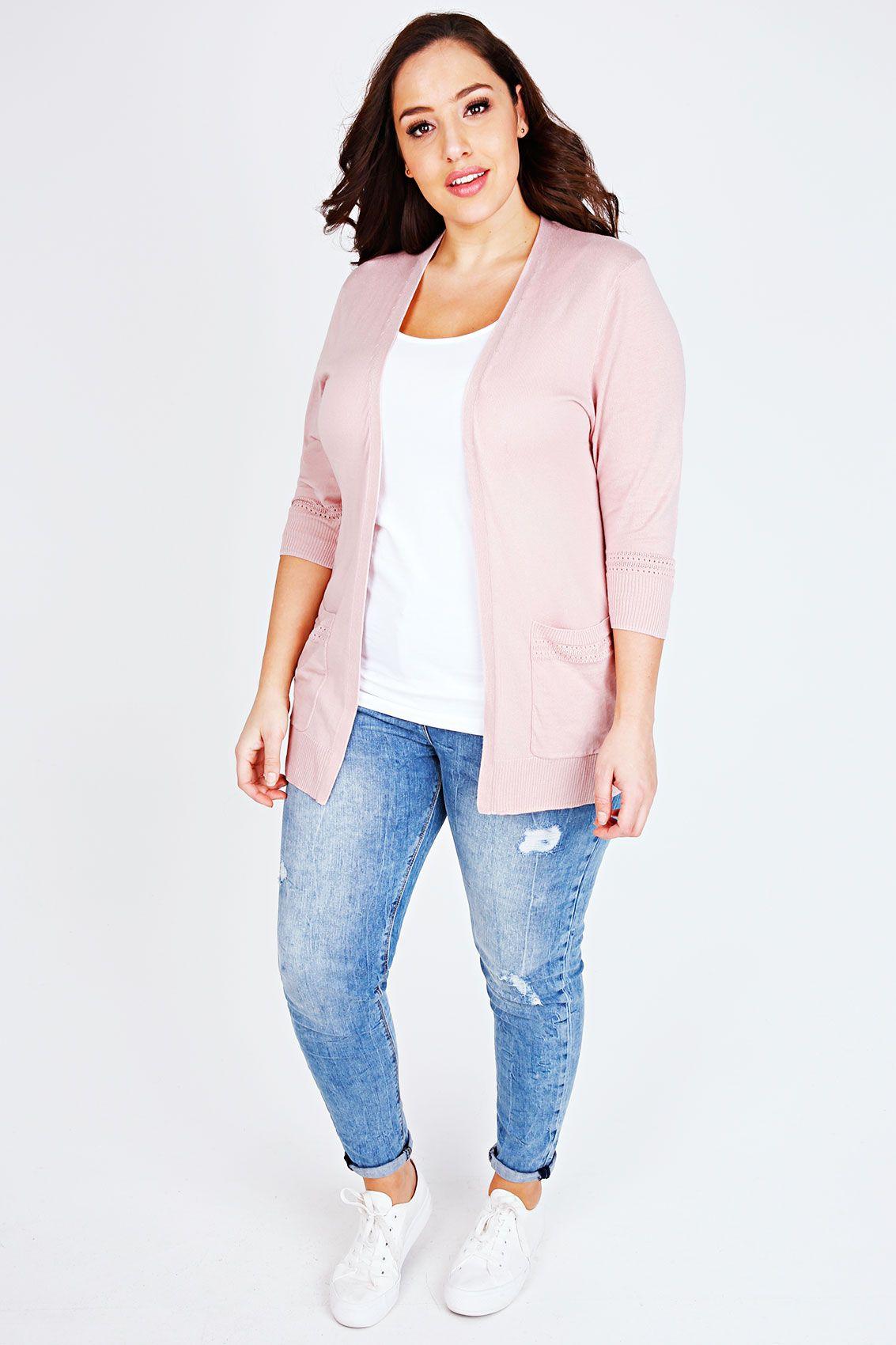 Pale Pink Longline Cardigan With Laser Cut Pocket & Cuff Details ...