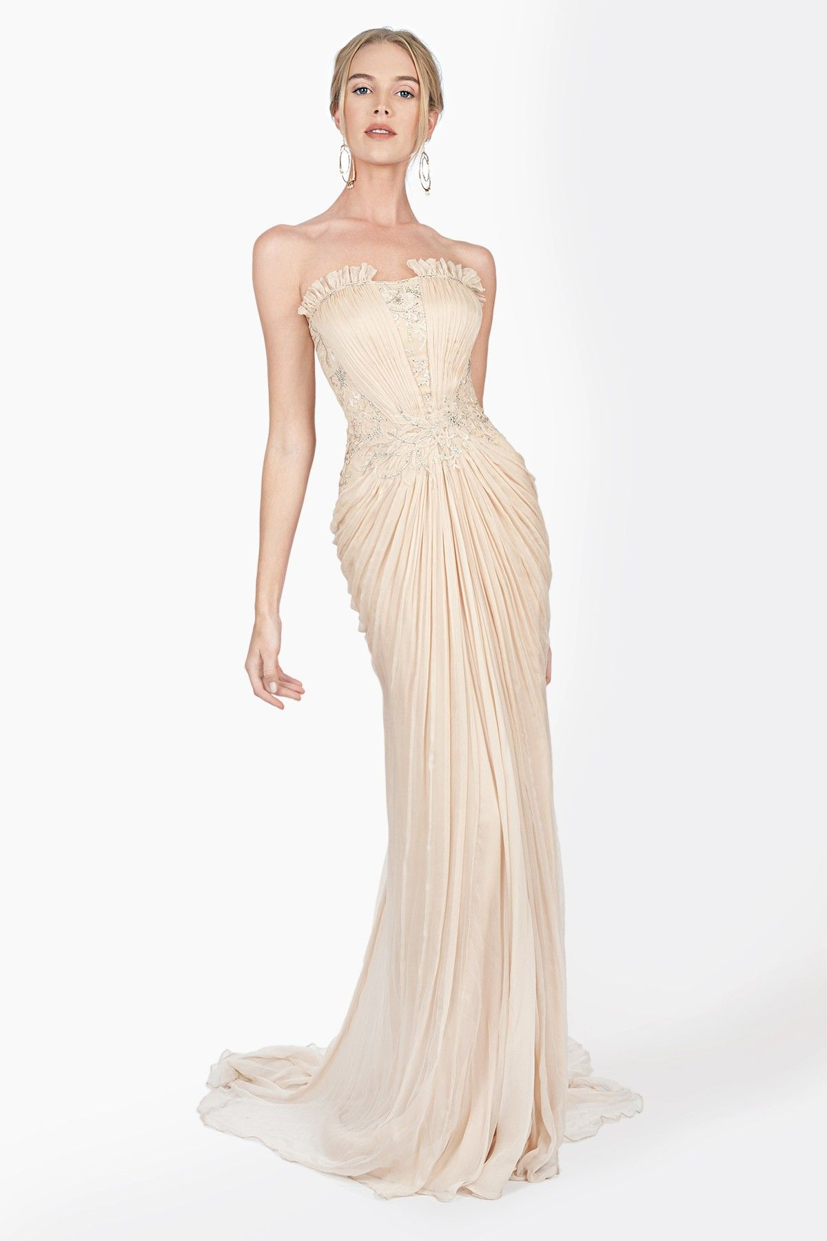 Tadashi shoji wedding guest dresses  Embellished Lace and Chiffon Strapless Gown in Desert Bloom