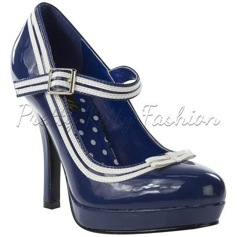 Pin Up Couture Blue Patent Closed Toe High Heeled Strap Shoes