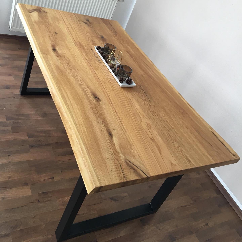 Eichentisch Auf Stahlbeinen Holztisch Massiv Naturkante Baumkante Geolt Oak Table Wooden Bookcase Home