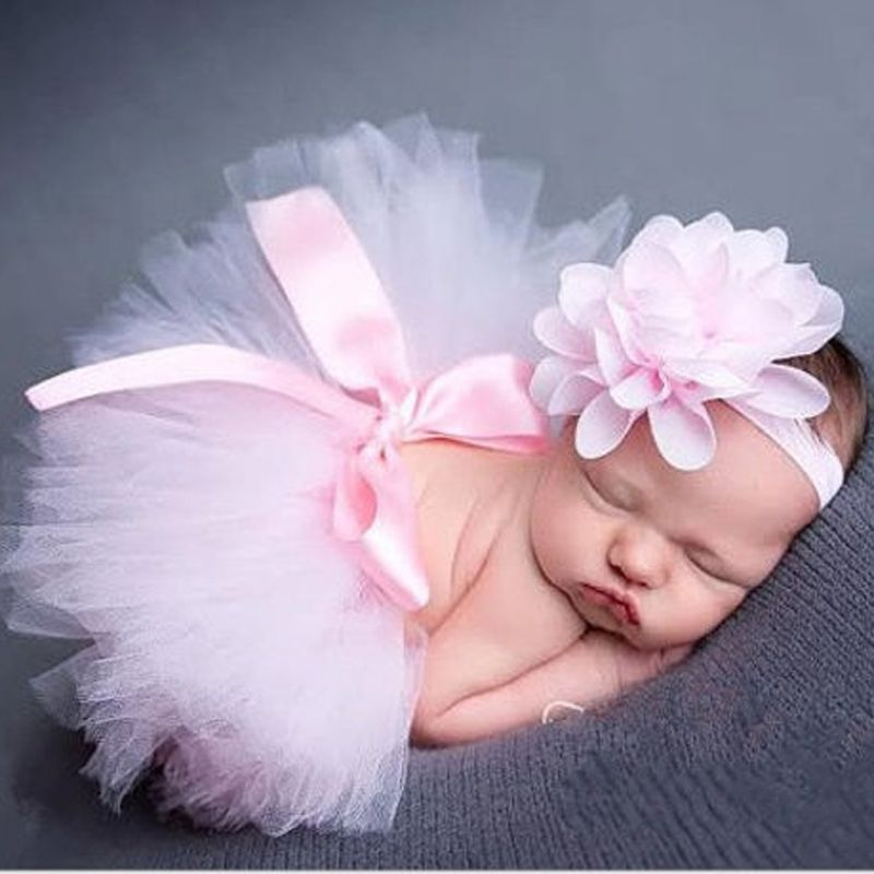Princess Baby Girl Dress Photography Props Costume Outfit w// Flower Headband
