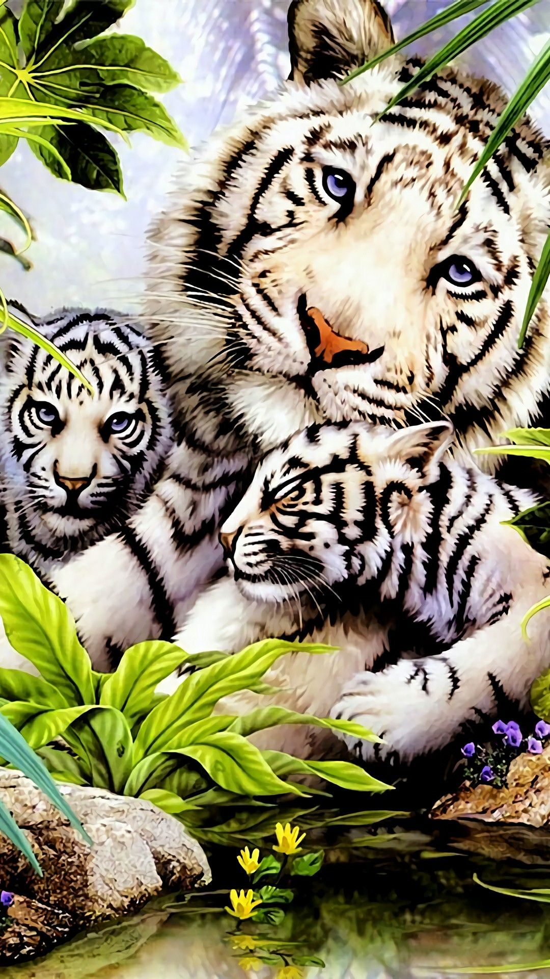 Mother N Her Cubs Big Cats Art Tiger Pictures Cute Animal Drawings