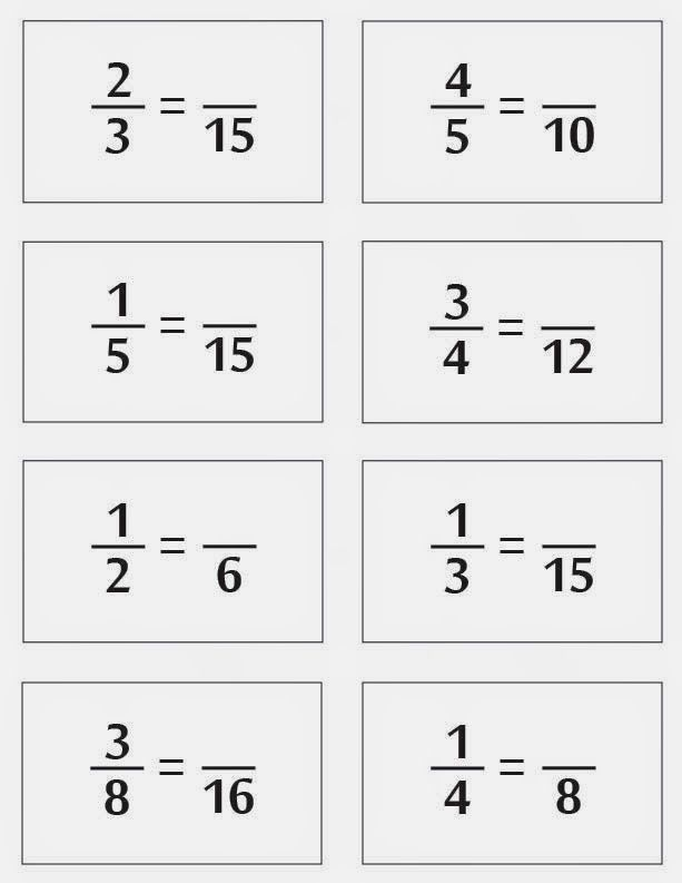 Equivalent Fractions Missing Numerator Board Game Equivalent Fractions Fractions Math Fact Worksheets