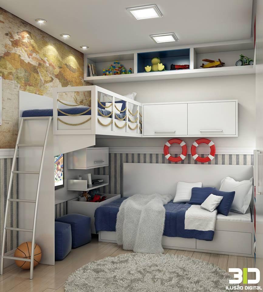 Creative loft bed ideas  Nautical design ideal for teenage boysu rooms  cuarto  Pinterest