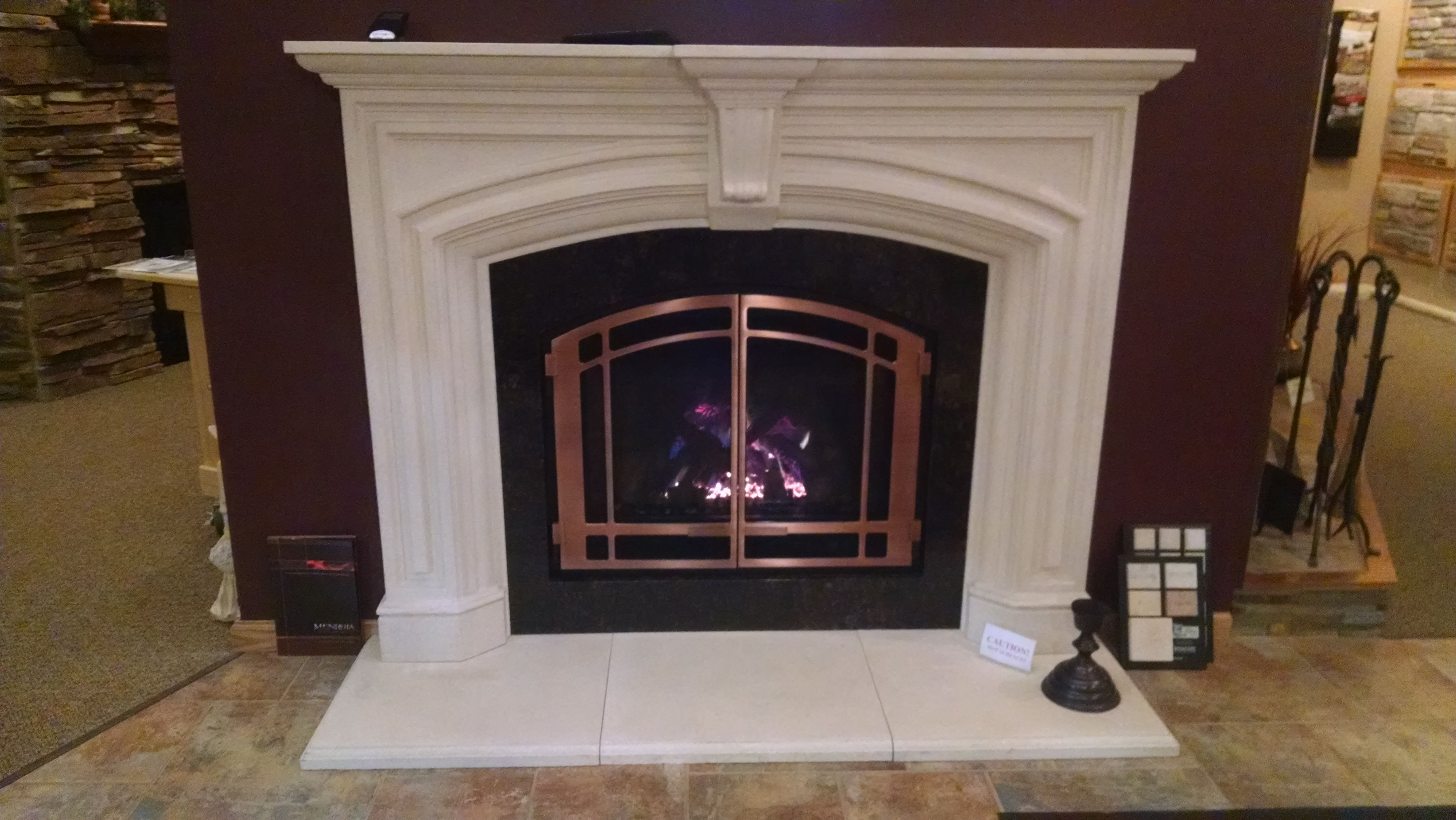 mendota dxv 35 gas fireplace with dracme real stone one piece