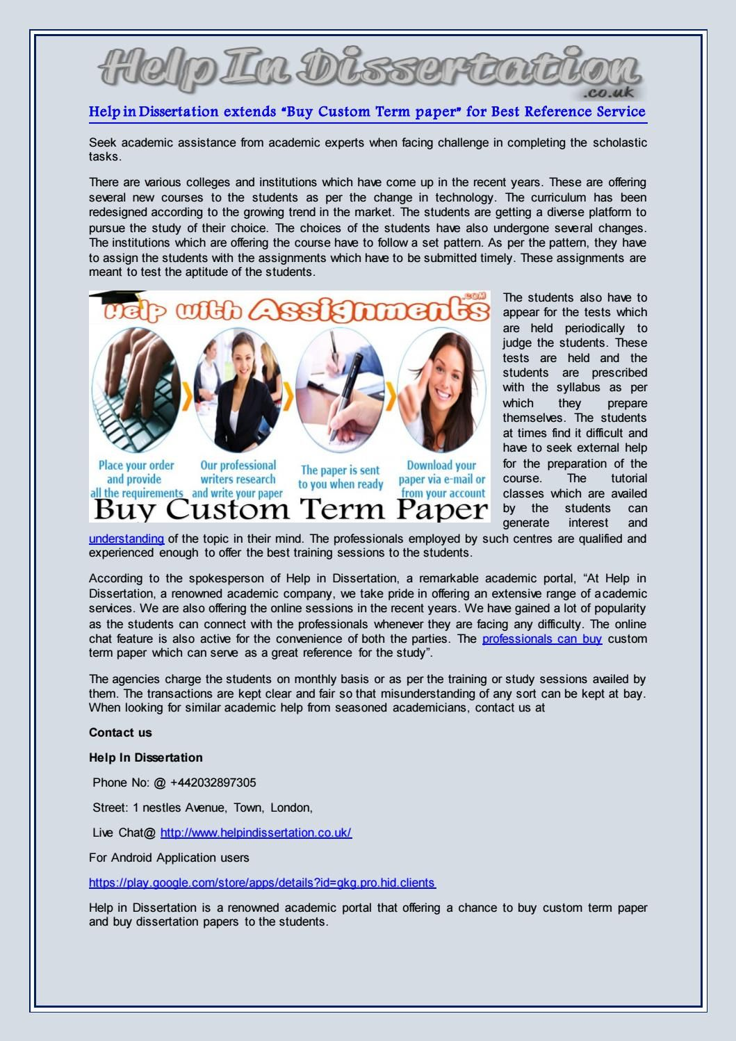 """Help in dissertation extends """"buy custom term paper"""" for best reference service"""