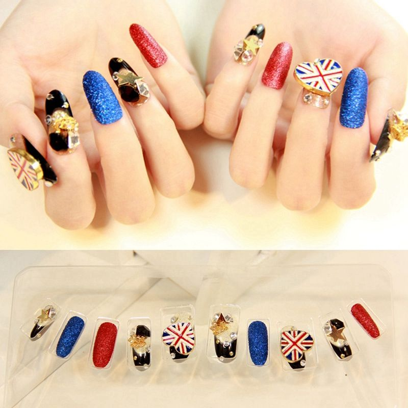 Super Long Round Press On Nails Designed Frosted Acrylic Nail Tips ...