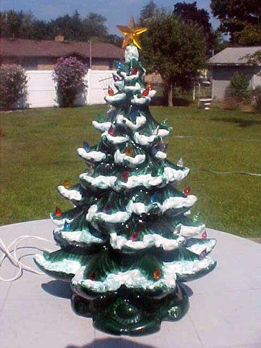 vintage atlantic mold lighted ceramic christmas tree 21 flocked - Atlantic Mold Ceramic Christmas Tree