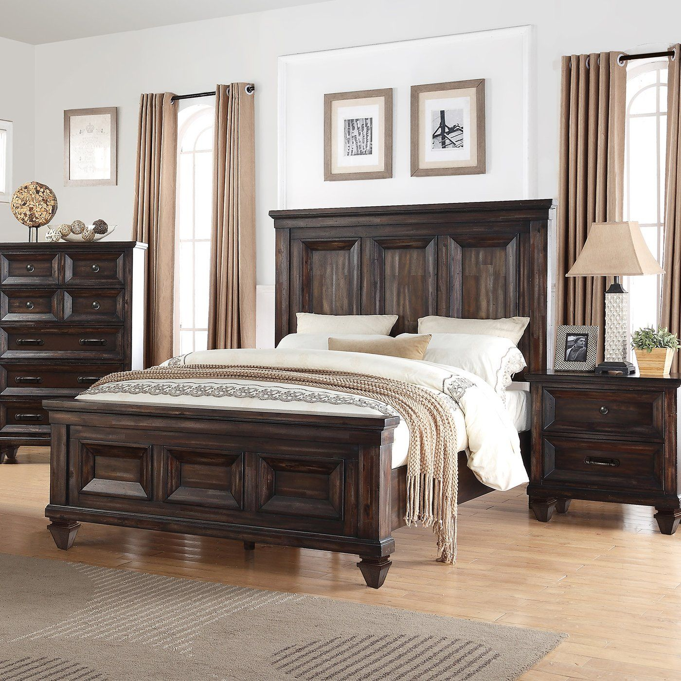 Winchester collection queen bed distressed walnut akihome